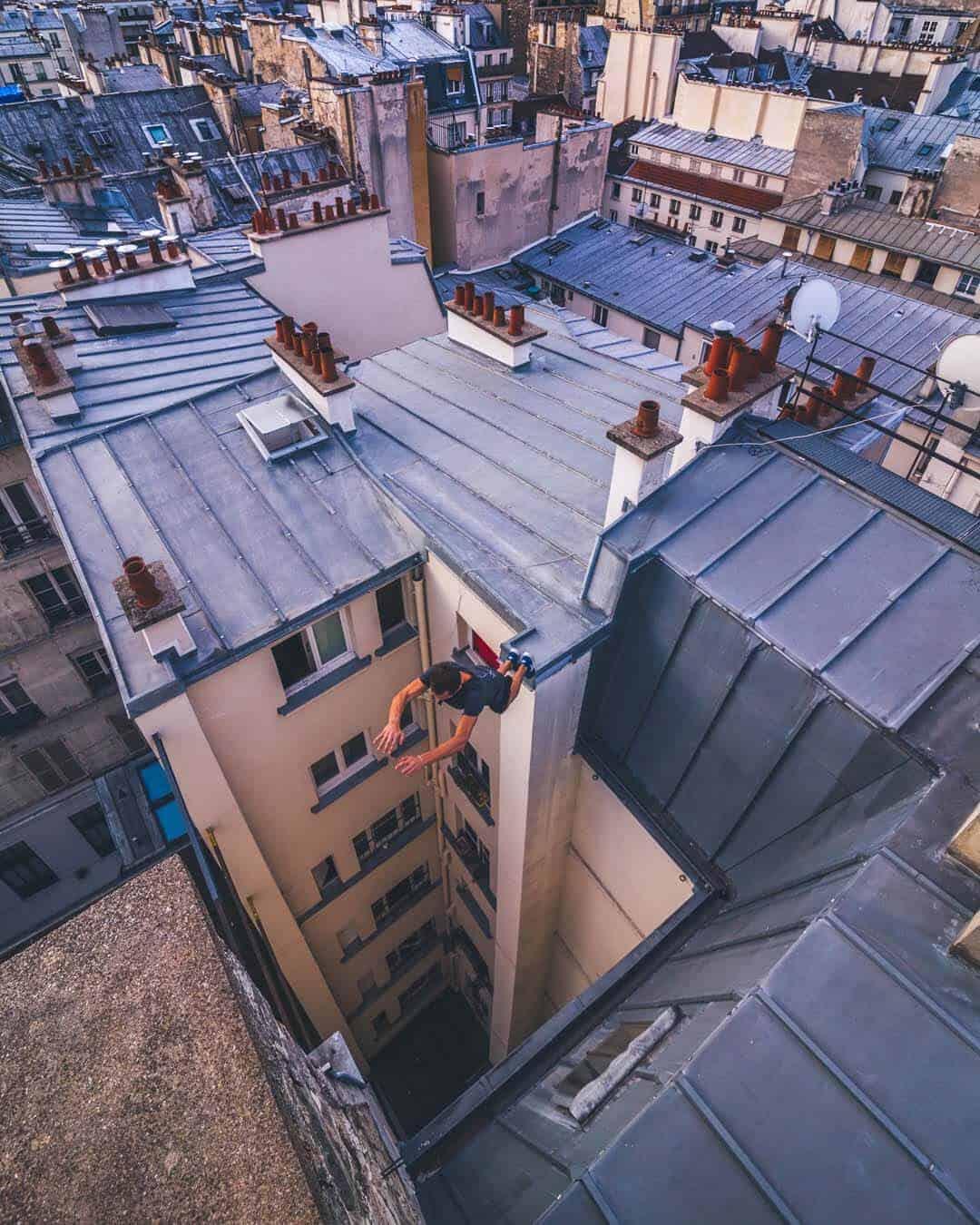 etrefort thibaut parkour clothing outdor paris rooftop pov above