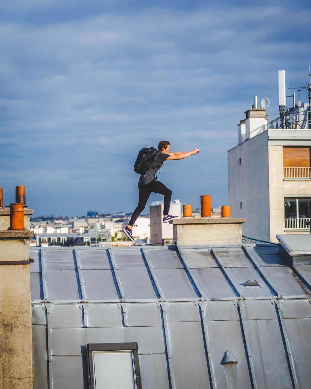 etrefort thibaut parkour clothing outdor paris rooftop pov jump