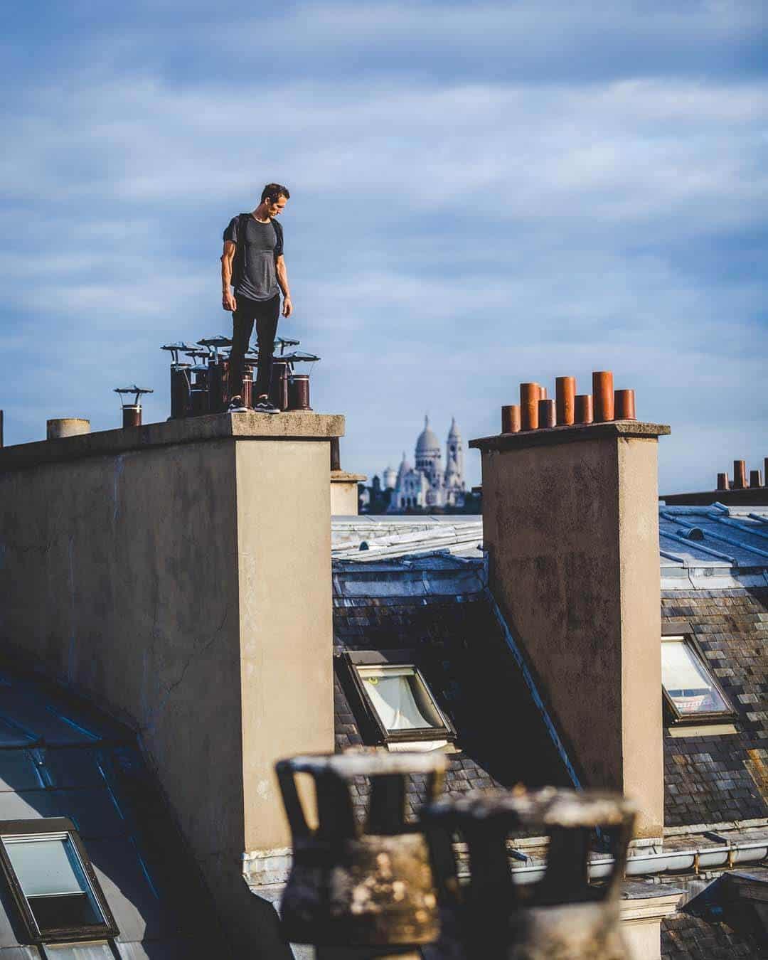 etrefort thibaut parkour clothing outdor paris rooftop pov looking down