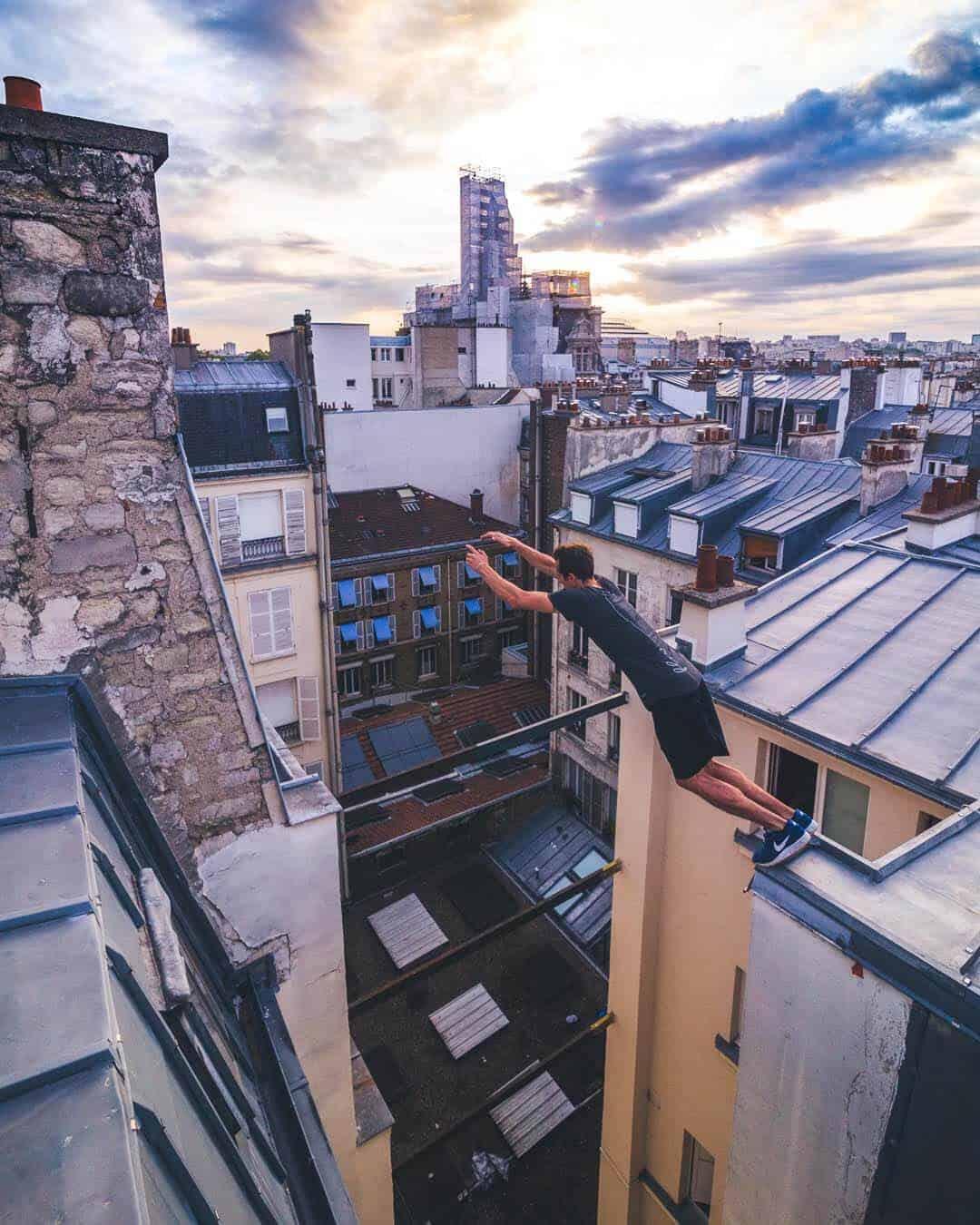 etrefort thibaut parkour clothing outdor paris rooftop pov precision jump