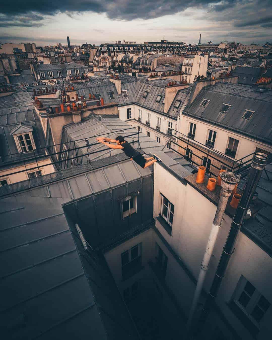 etrefort thibaut parkour clothing outdor paris rooftop pov wide